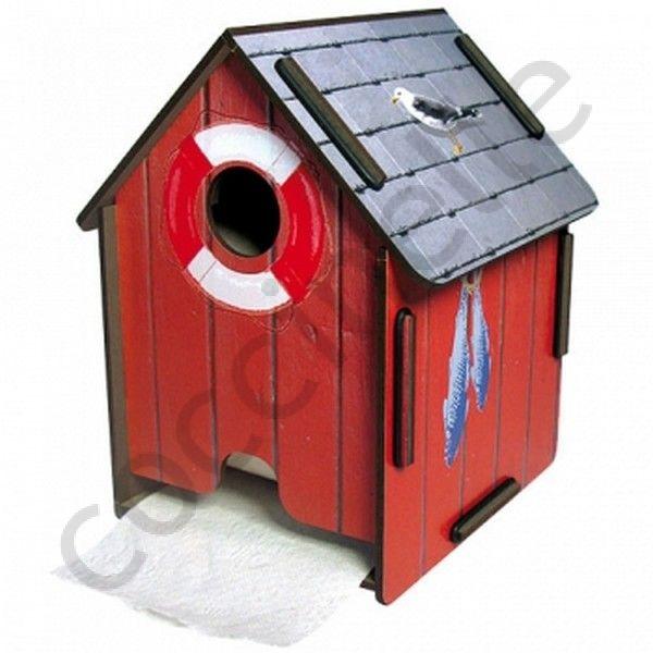 Pour la maison devidoire de papier wc original en bois et en forme de cabane for Rangement papier toilette original